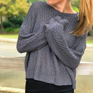 Sweaters - NWT Crisscross Back Charcoal Gray Sweater